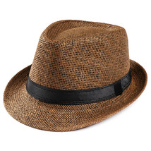 Hats For Women Unisex Trilby Gangster Cap Beach Sun Straw Hat Band Sunha... - $7.20