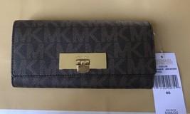 Michael Kors Callie Leather Carryall Wallet In Brown /Acorn - £76.07 GBP