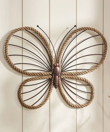 """21"""" Iron Butterfly Wall Plaque W Stripped Wing Accents"""
