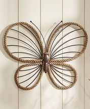 "21"" Iron Butterfly Wall Plaque w Stripped Wing Accents & Hemp Rope Detailing"