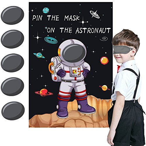 Pin the Mask on the Astronaut Game - Kids Solar System/Outer Space Birthday Part