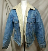 Vtg 70s LEVIS Mens 40 Jean Jacket Sherpa Trucker Coat Fleece Denim Mediu... - $105.93