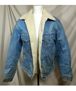 Vtg 70s LEVIS Mens 40 Jean Jacket Sherpa Trucker Coat Fleece Denim Mediu... - $105.93
