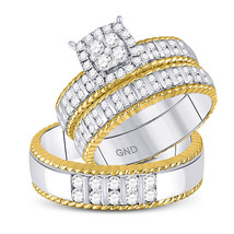 14kt Two-tone Gold His & Her Round Diamond Cluster Matching Bridal Wedding Ring  - £1,661.31 GBP