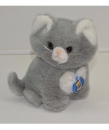 "Vintage Dakin Grey Cat Musical turn Key Plush Stuffed Animal 1994 8"" - $25.47"
