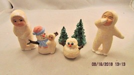 Handmade Clay Face White Glitter Snow Angel Children, Snowmen Christmas ... - $17.61