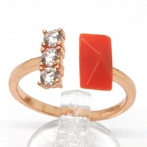 Silver Ring 925, Pink, Trilogy, Red Coral Rectangular, Made IN Italy - $85.07