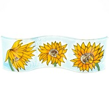 Fused Art Glass Sunflowers Flowers Wavy Decor Sun Catcher Handmade in Ecuador