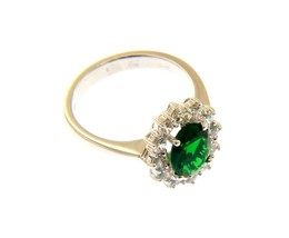 18K WHITE GOLD FLOWER RING BIG OVAL 9x7mm GREEN CRYSTAL, CUBIC ZIRCONIA FRAME image 1