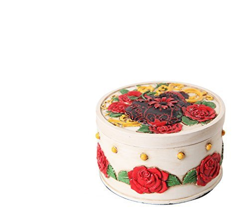 Primary image for PTC Pacific Giftware White with Red Roses Day of The Dead Skull Box Statue Figur