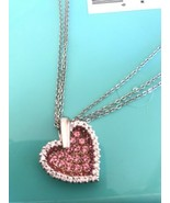 """Large Heart Necklace Pink Cubic Zirconia Sterling Silver .925 Double 18""""... - $45.00"""
