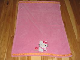 Hello Kitty Lambs & And Ivy Pink Plush Baby Girl Blanket Cat Flower Orange Dot - $34.05