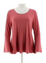 H Halston Scoop Neck Bell Slv Top Rhubarb M NEW A297898 - $24.73