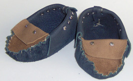 American Made! Blue & Brown Leather Baby Moccasins,Hand Crafted Toddler ... - $30.95