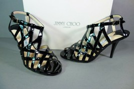 Jimmy Choo 38 Black Patent Leather Caged Cutouts Owen Strappy Sandals He... - $377.98
