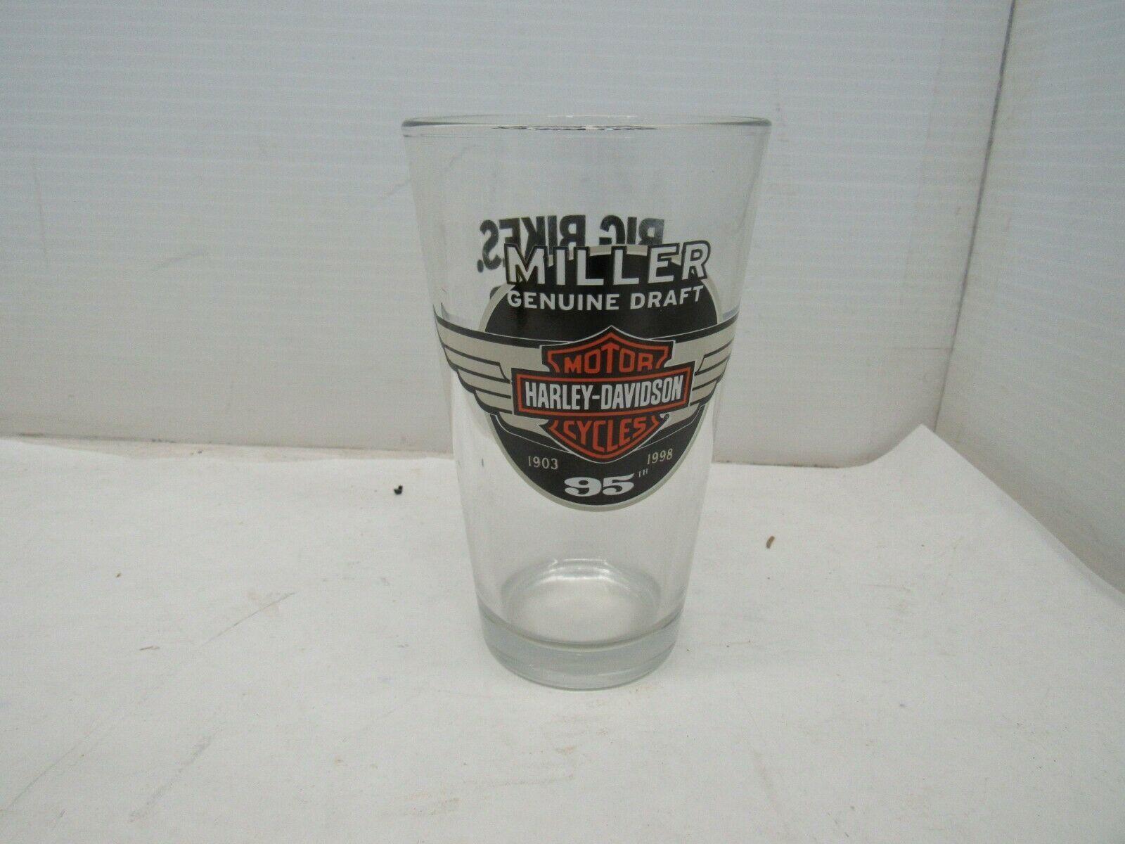 Harley Davidson Motorcycles Miller Genuine Draft 95th Anniversary Beer Glass