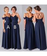 Newly Navy Blue Chiffon Long Bridesmaid Dress A Line Bridesmaid Gowns Ru... - $85.00