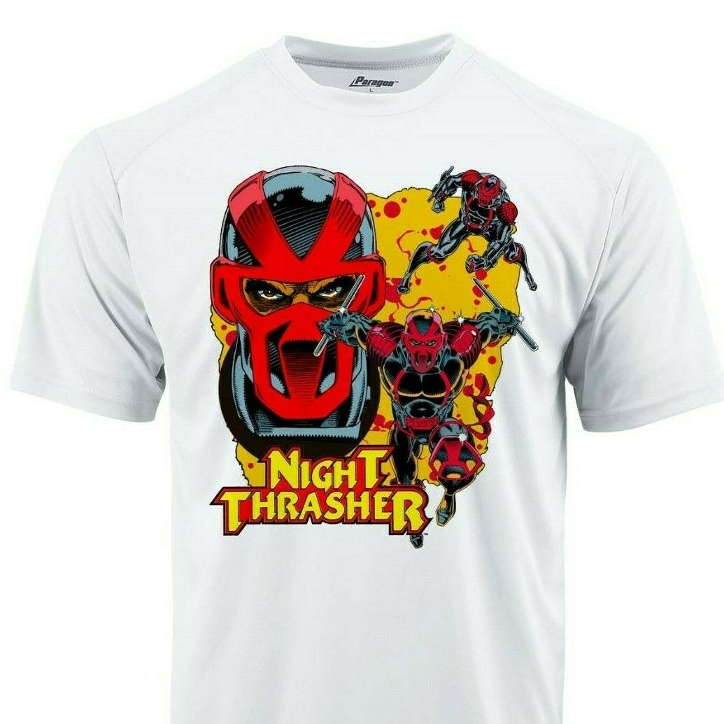 Night Thrasher Dri Fit graphic T-shirt moisture wick superhero comic Sun Shirt
