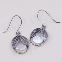 Israel handmade Sterling 925 Silver hammered disk earrings, Pearl Earrings - $26.99