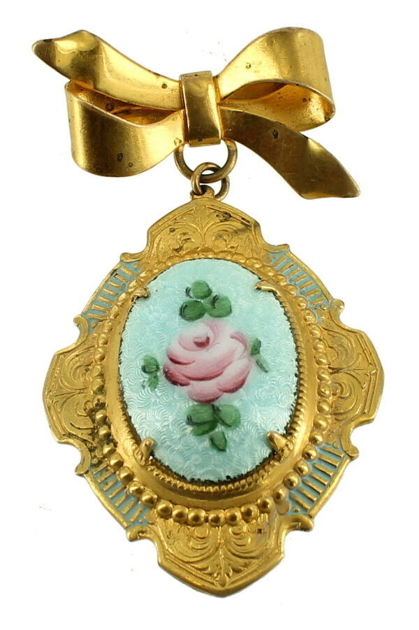 Primary image for VINTAGE BLUE GUILLOCHE ENAMEL ROSE VICTORIAN REVIVAL BOW DROP DANGLE PIN 2.5""