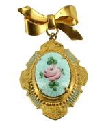 VINTAGE BLUE GUILLOCHE ENAMEL ROSE VICTORIAN REVIVAL BOW DROP DANGLE PIN... - $80.99