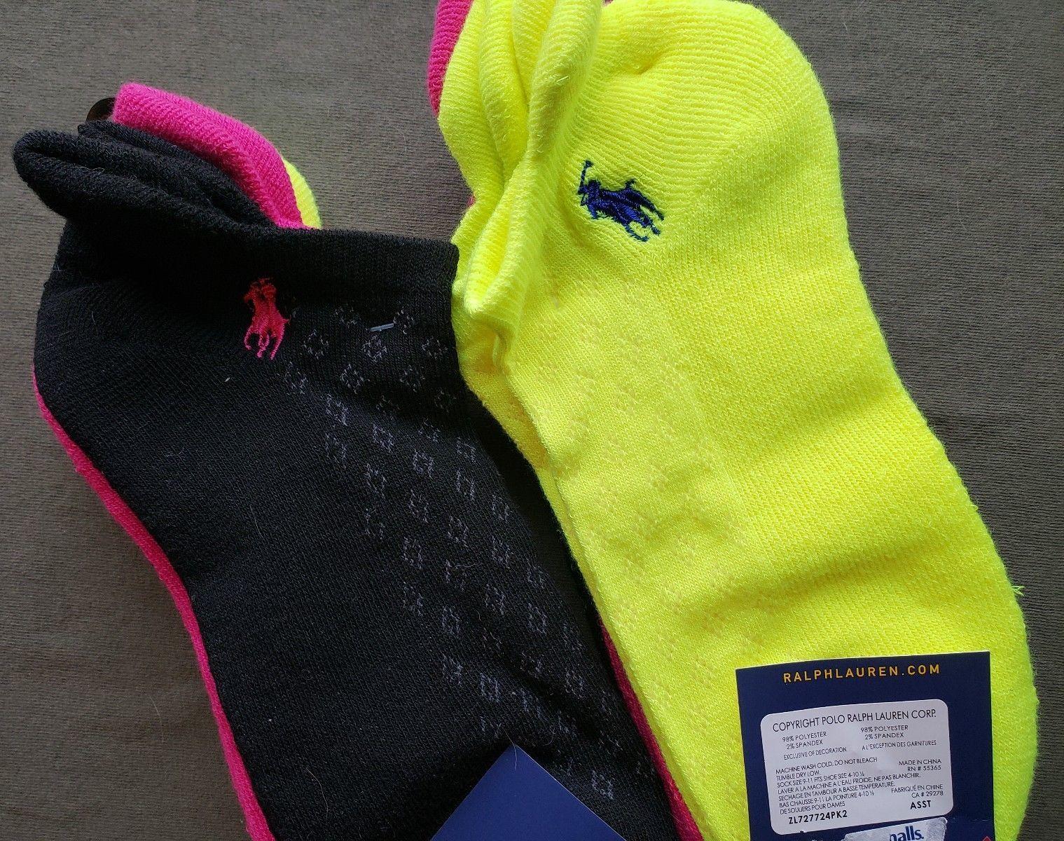 Polo Ralph Lauren Women's Ankle Socks 6 Pack 9-11 Black Pink Neon Sport Cushion