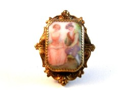 Vintage Portrait of A Gentleman & A Lady Brooch - $31.18