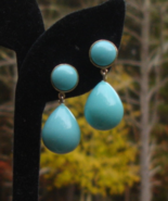Vintage Crown Trifari Turquoise Dangle Drop Earrings - $36.00