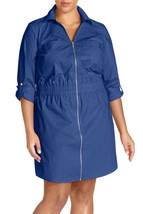 Michael Kors Cotton Poplin Zip Front dress, 2X, Blue, originally $145 #A... - $41.79