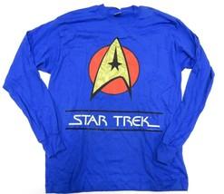 NOS 1995 Star Trek Logo Blue Long Sleeve Graphic Shirt Adult Men's Size X-Large - $69.25
