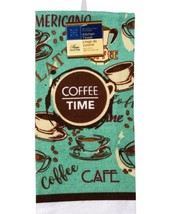 COFFEE TIME KITCHEN TOWEL Cafe Mocha Brown Turquoise Kitchen Linen image 2