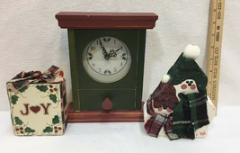 Christmas Holiday Wood Decor Wooden Battery Clock Snowman Joy Vintage Lo... - $14.84
