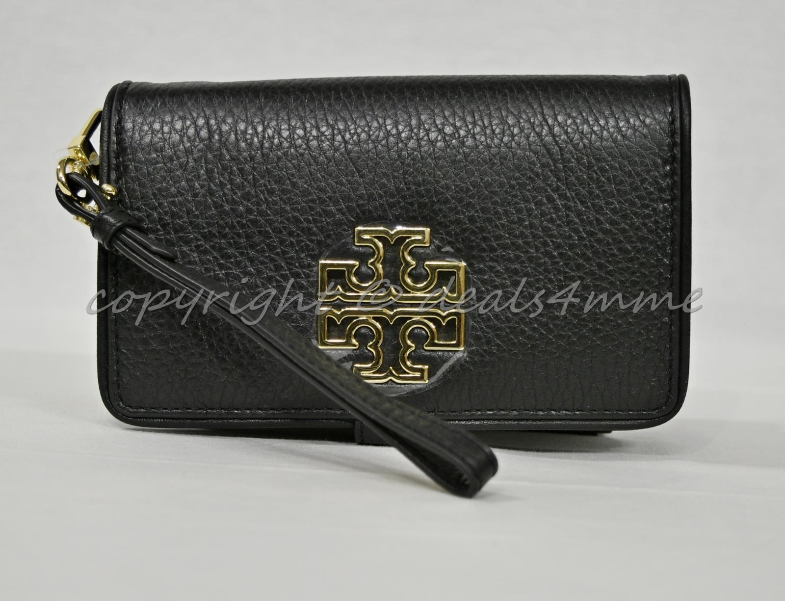 a1a55709da6d Tory Burch Britten Pebble Leather Smartphone Wallet / Wristlet In Black OR  Bark