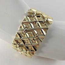 Coro Pegasus Bracelet Gold Toned Geometric Chunky Modernist Runway Vtg Gift - $87.11