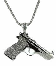 "Mens GP Hip Hop Iced Out Huge Gun Pistol Pendant 37"" Franco Chain Necklace - $18.12"