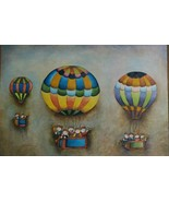 Rare Signed J. Roybal Children Aboard 3 Air Balloons Large Musical Art P... - $650.49
