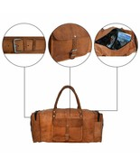 Leather Duffel Travel Gym Overnight Weekend Leather Bag Classic Round Ha... - $64.57+