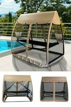 Garden Swing Bed Outdoor Patio Hanging Daybed Sun Lounger Canopy Mesh Cu... - $339.34