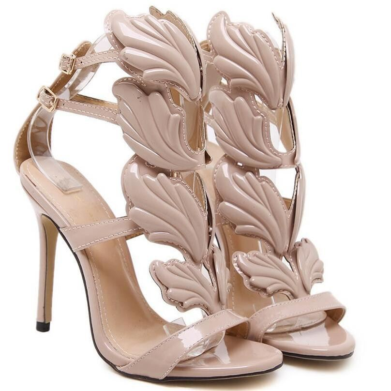 BDF Women High Heel Gold Winged Leaves Cut-out New Summer Sandal Party Shoe