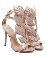 BDF Women High Heel Gold Winged Leaves Cut-out New Summer Sandal Party Shoe - $46.16