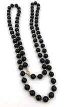"Vintage 14k yellow gold Onyx bead Necklace 14k Gold spacers 32"" - $163.35"