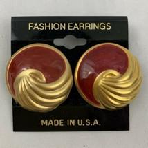 Satin Brushed Gold Tone Red Enamel Pierced Earrings NOS Vintage Round Spray - $9.84