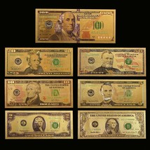 WR 7PCS Color Gold US Banknote Set New $100 - $1 Dollar Bill Golden Pape... - $9.49