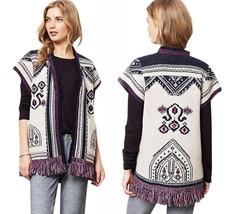 Anthropologie Indigenous Pattern Cardigan XS / S 0 2 4 6 Wool Sweater Fringe NWT - $68.60