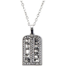 10 Commandments Clear Crystals Silver Rhodium Pendant Necklace Judaica Kabbalah image 1