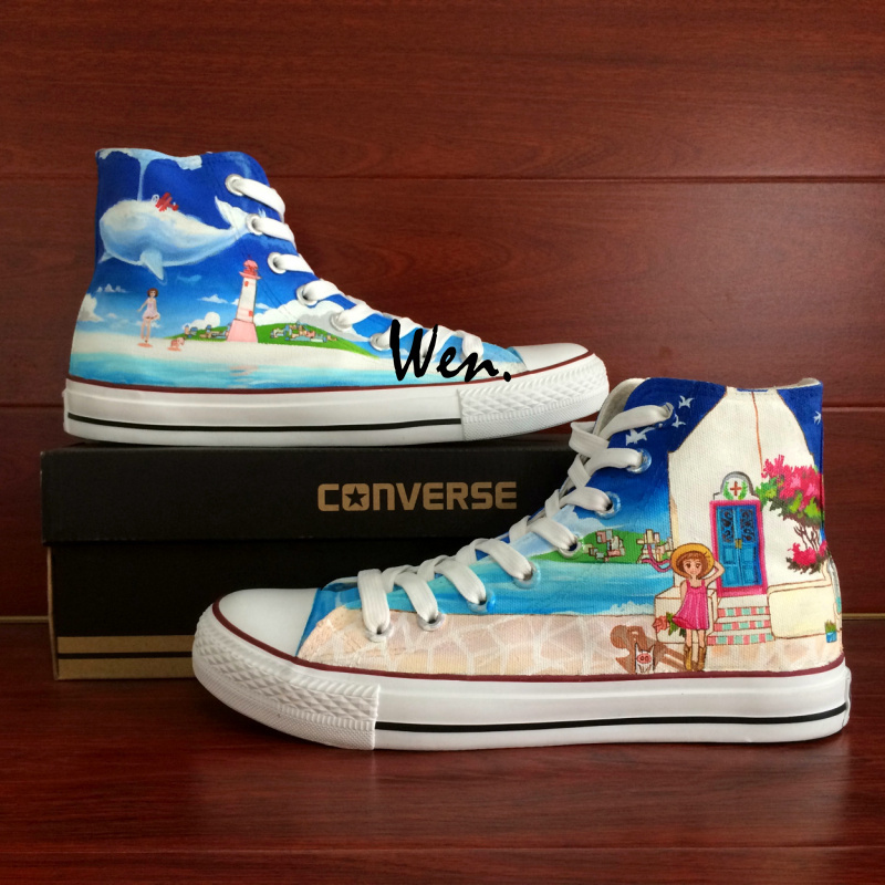 Coastal City Beach Cartoon Girl Custom Converse Hand Painted Canvas Sneakers