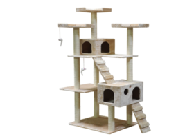 Cat Tree For Large Cat 2 Condominiums 72 Inches Beige With Scratcher 10 ... - $149.68