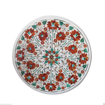 "Size 18""x18"" Marble Coffee Table Top Carnelian Inlay Mosaic Marquetry Ho... - $514.65"