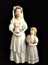 HOMCO Figurine 1405 Bride & Flower Girl Porcelain 8.25 inches Wedding Day - $28.70