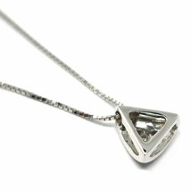 18K WHITE GOLD NECKLACE, TRIANGLE PENDANT WITH DIAMOND AND VENETIAN CHAIN  image 2